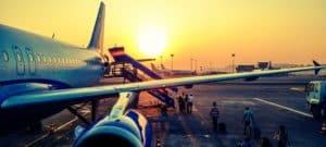 avion coucher de soleil vol
