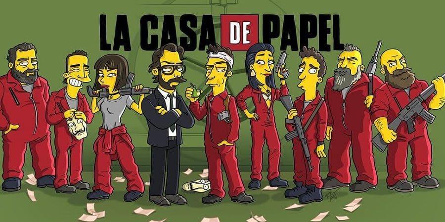 Les personnages de la Casa de Papel en Simpsons