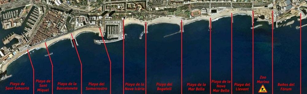 carte Playas de Barcelona