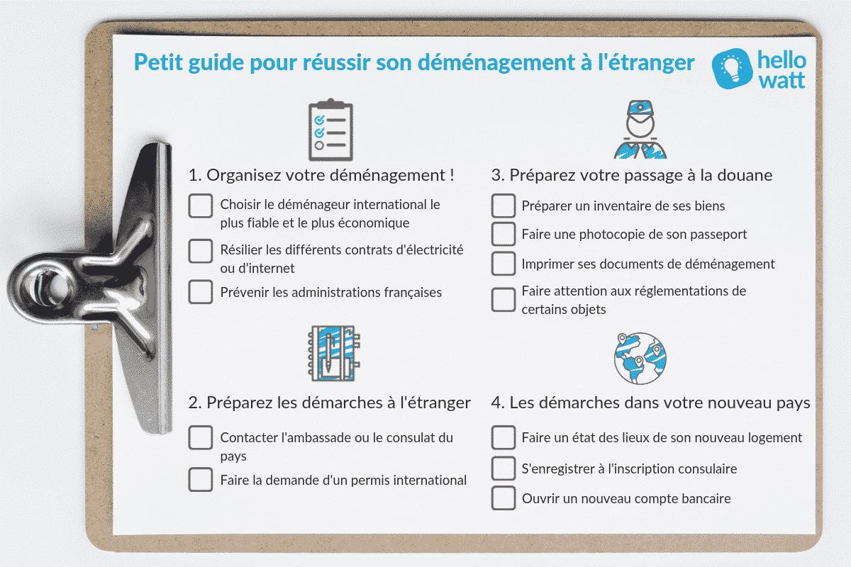 preparer demenagement etranger checklist